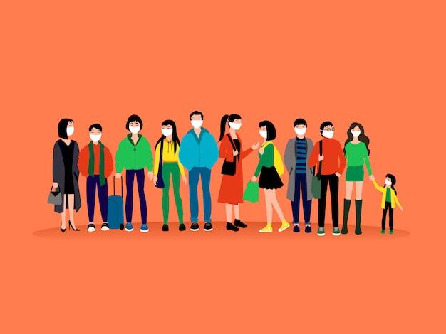 의료 마스크를 착용하는 사람들. 젊은 트렌디 한 아시아 사람들. 사람들이 평면 문자를 설정합니다. 중국 코로나 바이러스 2019-ncov