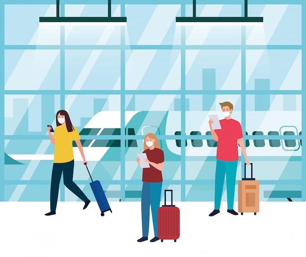 空港ターミナルで医療用保護マスクを着用している人、コロナウイルスのパンデミック時に飛行機で旅行している人、予防covid 19