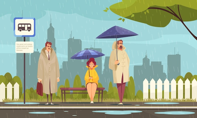 People wearing overcoats waiting at bus stop under umbrellas in rainy weather