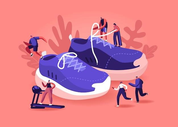 Люди, носящие концепцию кроссовок. спортсмены и спортсменки тренируются в тренажерном зале и на открытом воздухе в спортивной обуви. мультфильм плоский иллюстрация