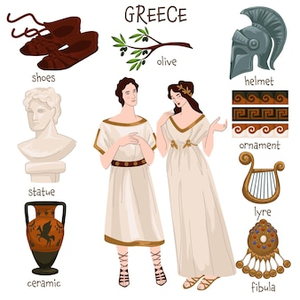고대 그리스 전통 의상과 예복을 입은 사람들. 그리스에서 온 남자와 여자. 올리브 나무 가지, 헬멧과 패턴, 고전적인 동상과 도자기, 거문고와 보석. 평면 스타일의 벡터