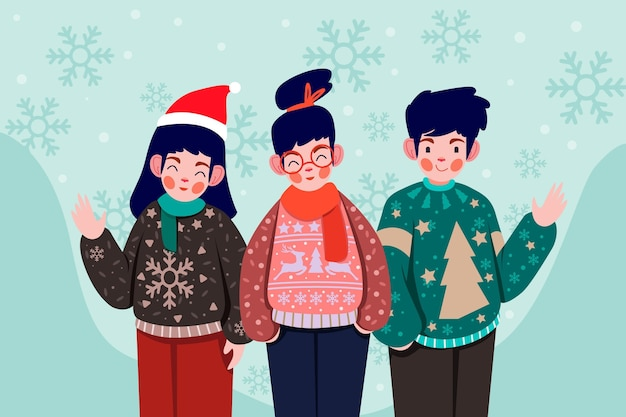 醜いセーターを着ている人