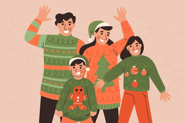 추한 스웨터를 입은 사람들