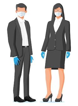 바이러스 보호 의료 얼굴 마스크와 고무 장갑을 착용하는 사람들.