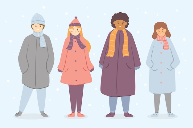 파란색 배경에 겨울 옷을 입고 사람들