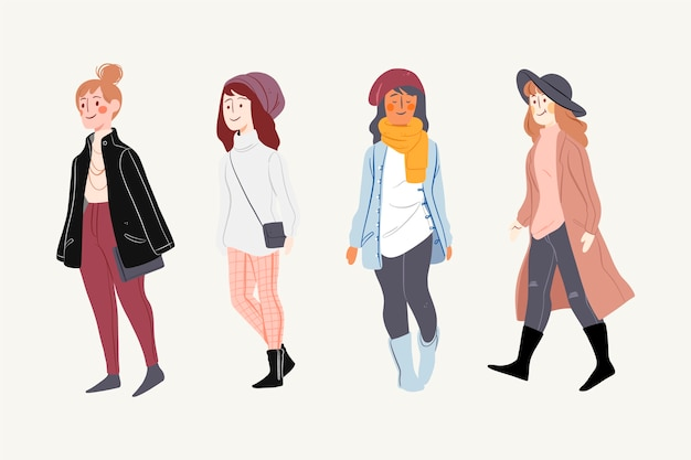 People wearing winter clothes pack