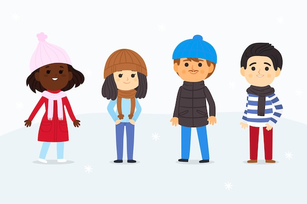 People wearing winter clothes set