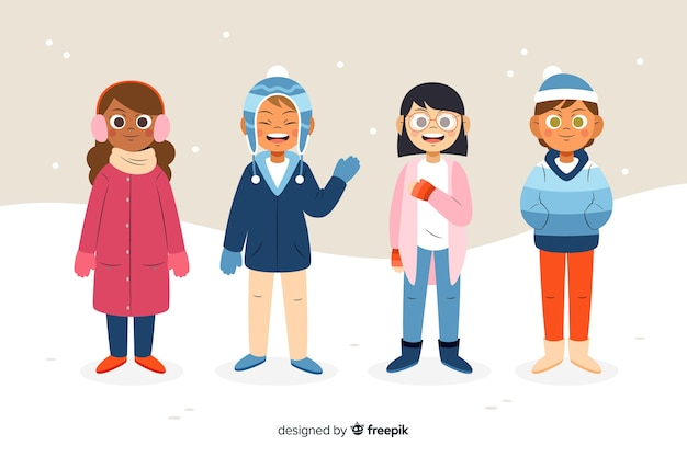 People wearing winter clothes