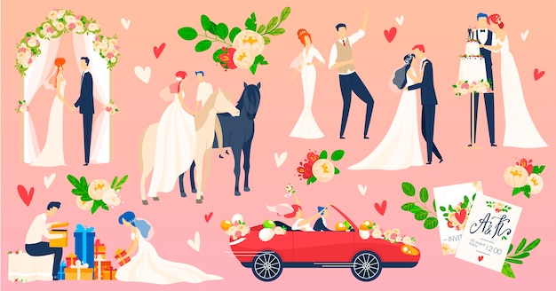 People wedding, marriage vector illustration flat set. cartoon newlyweds character on romantic wedding ceremony scene, young bride groom dancing on weddings party celebration
