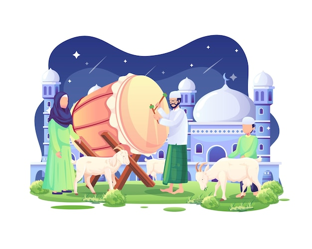 People welcome eid al adha mubarak at night with some goats and a bedug illustration