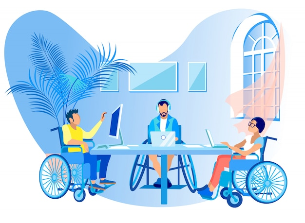 People in wheelchairs work online cartoon flat.