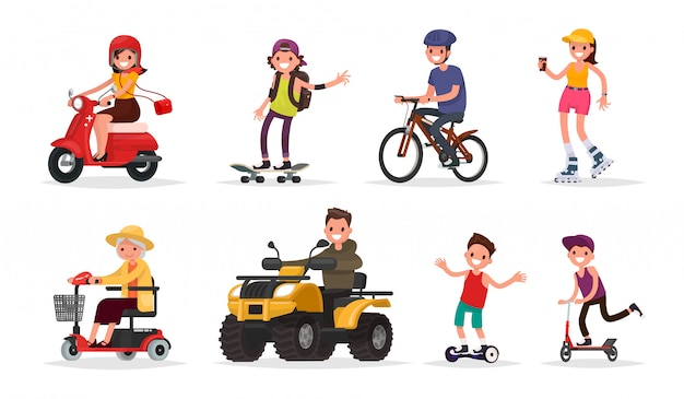 People and wheeled: vehicles, scooter, skateboard, bicycle, roller skates, gyroscooter, atv. Premium Vector