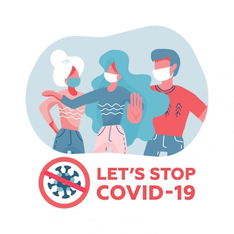 People in white medical face mask. concept of coronavirus quarantine. coronavirus 2019-ncov . woman shows a palm brake light. flat illustration.