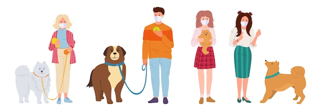 People in white medical face mask walking dogs. pet flat cartoon set. coronavirus covid 19, girl and guy playing with dog. shepherd and husky, spitz. isolated  illustration