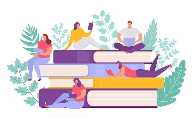 거대한 책 더미에서 책을 읽는 것을 좋아하는 사람들. 도서관의 독자 또는 공부하는 대학생. 교육, 문학 및 지식 개념.