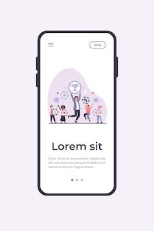 People winning different prizes. team of winners celebrating achievements, holding gold cup and medals. vector illustration mobile app template