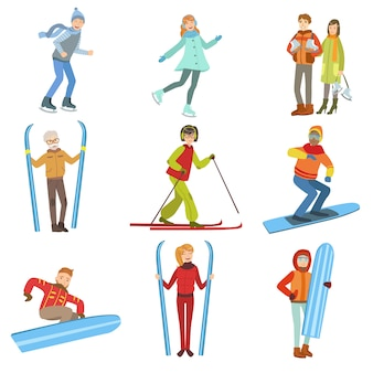 People and winter sports illustration set