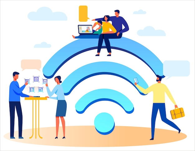 People, wireless technologies and huge wi-fi sign