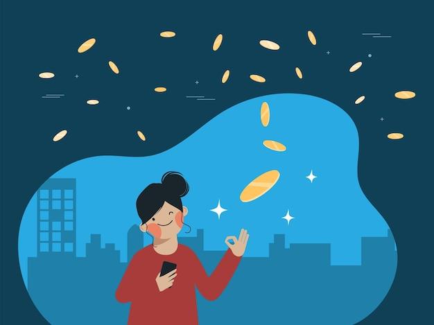 Le persone con app analytics stock exchange trading concetto di trading di investimento in borsa