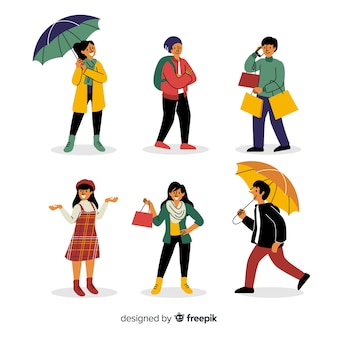 People with autumn collection of clothes