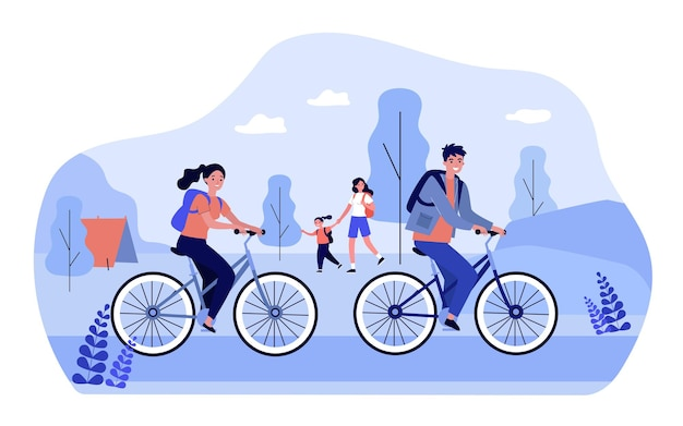 People with backpacks enjoying nature. flat vector illustration. couple on bicycles, daughter with mom in background, tent set up in forest or park. nature, walk, tourism, lifestyle, family concept