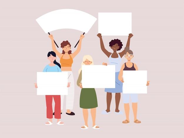バナーや看板を持っている人は抗議している、人々は拳や看板を掲げて