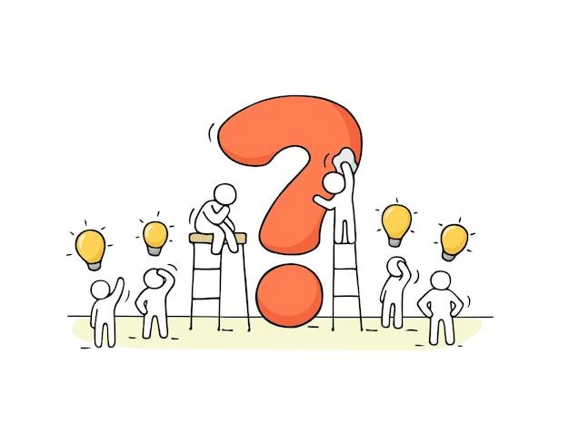 큰 질문과 램프 아이디어를 가진 사람들