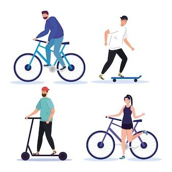 バイクスクーターとスケートのデザイン、乗り物とライフスタイルのテーマを持つ人々。