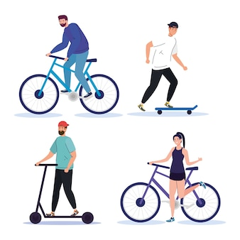 People with bike scooter and skate design, vehicle and lifestyle theme.