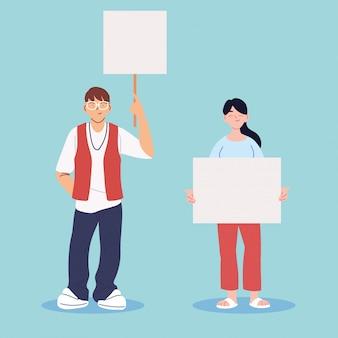 空白のプラカードを持つ人々は抗議している、人々は抗議のメッセージでプラカードを上げた