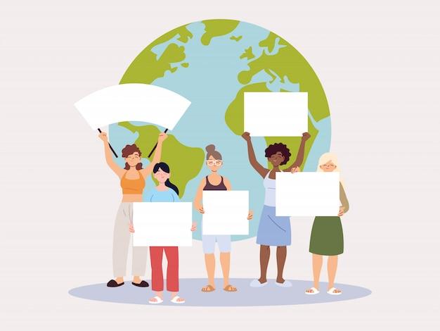 Люди с пустыми плакатами обращают внимание на изменение климата