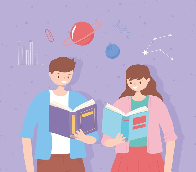 People with books reading and studying education illustration