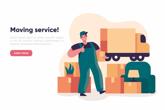People with boxes house moving services landing page