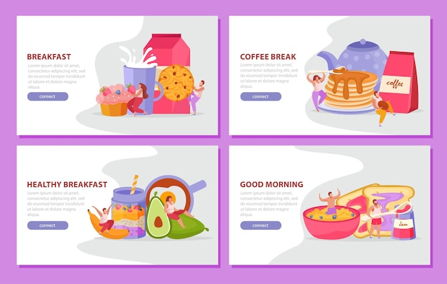 コーヒーブレイク健康的な朝食とおはようの見出しが設定された朝食フラットウェブバナーを持つ人々