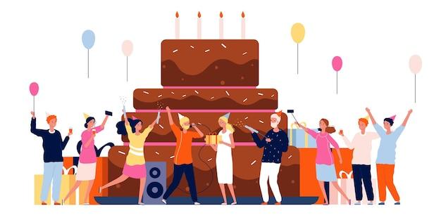 Люди с тортом. семейный праздник персонажей танцует и играет на фоне дня рождения большой торт. иллюстрация люди женщина и мужчина с тортом
