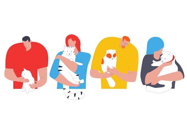 猫の漫画のキャラクターセットを持つ人々