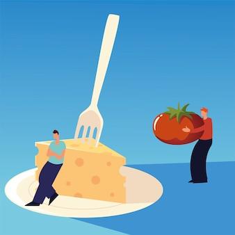 チーズフォークとトマト食品ポスターベクトルイラストを持つ人々