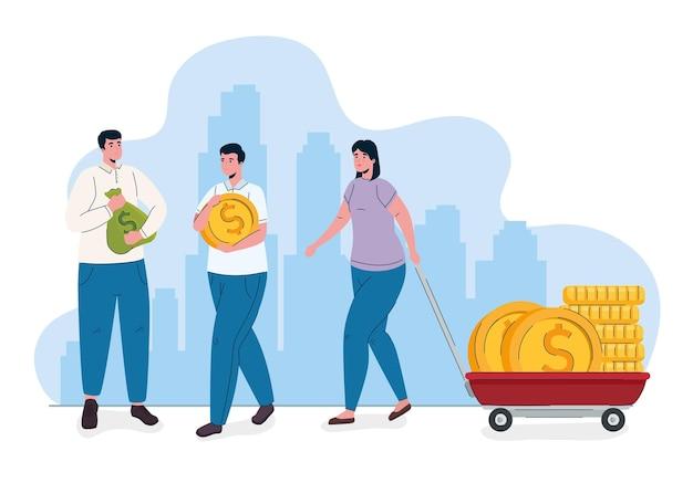 Люди с монетами, деньгами, долларами в тележке