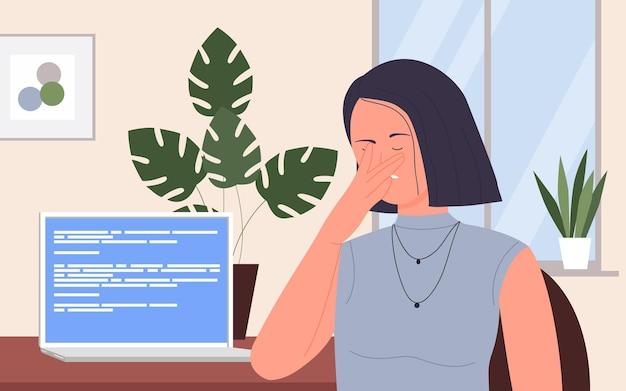 사무실 직장에서 컴퓨터 기술 오류를 가진 사람들은 일하는 비즈니스 아가씨를 좌절