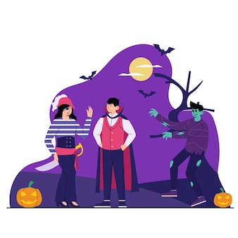 People with coustume flat illustration