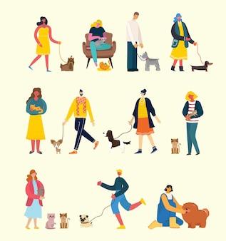 플랫 스타일로 주위에 귀여운 강아지와 고양이 및 애완 동물을 가진 사람들