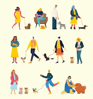 People with cute dogs and cats and pets around in flat style
