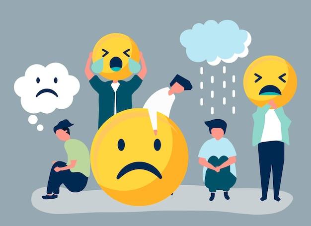 Люди с депрессией и несчастьем