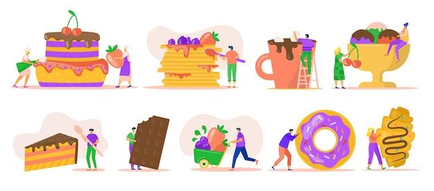 흰색 절연 디저트를 가진 사람입니다. 아이스크림, 거대한 도넛, 초콜릿, puncakes 및 케이크와 함께 작은 캐릭터. 빵집을위한 달콤한 애프터 음식. 맛있는 달콤한 디저트.