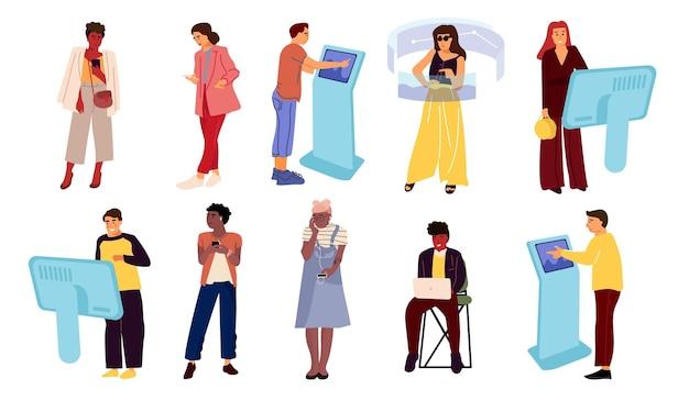 Люди с иллюстрацией устройств