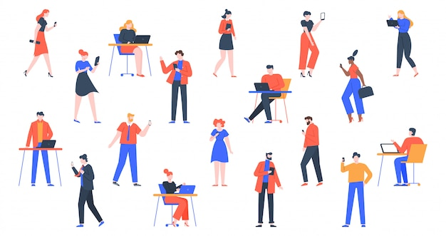 People with devices. men and women use laptop, tablet and smartphones, characters with internet devices equipment, holding and using digital gadgets  illustration set. young adult persons online