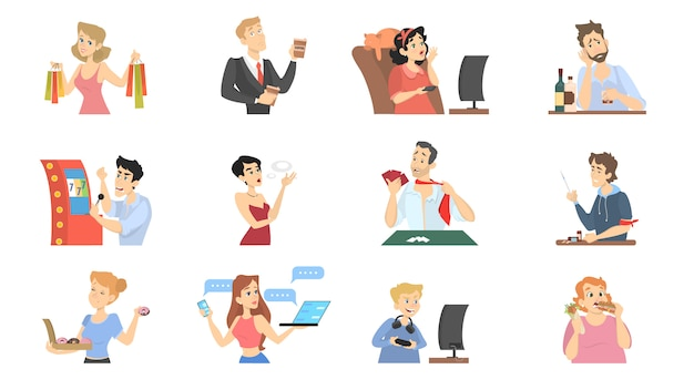 People with different bad habits set illustration.