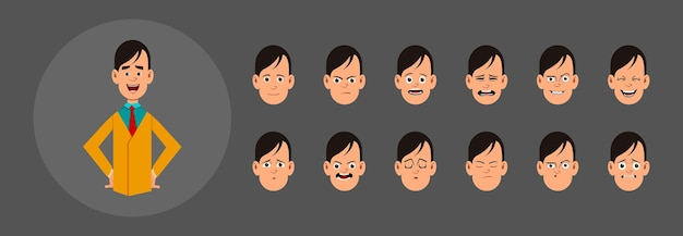 People with different emotions.  different facial emotions for custom animation, motion or design.