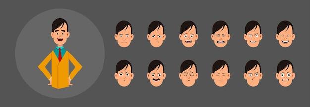 さまざまな感情を持つ人々。カスタムアニメーション、モーション、またはデザインのさまざまな顔の感情。