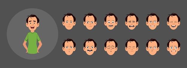 さまざまな顔の感情を持つ人々。カスタムアニメーション、モーション、またはデザインのさまざまな顔の感情。